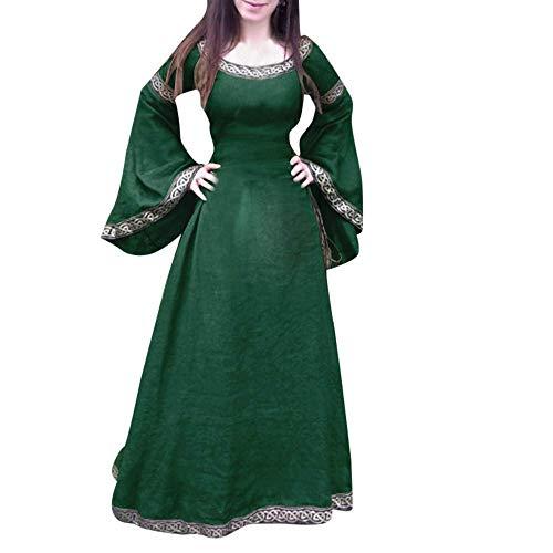 Targogo Frauen Mittelalterlichen Vintage Kleid Renaissance Asymmetrisch Ärmel Umstandsmode Lange Cosplay Maxi Kleid Party Ballkleider Cocktailkleid Elegant (Color : Grün, Size : M)