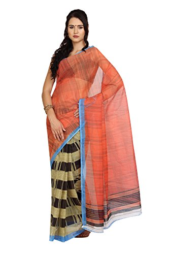 Parchayee Polka Dot Orange Synthetic Saree  available at amazon for Rs.310