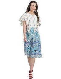Ritu Kumar Label Women's A-Line Knee-Long Dress (SDRVMCR00N17240959-Teal-S_Teal_S)