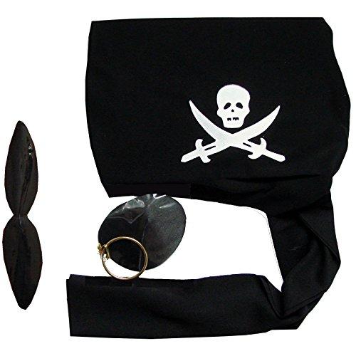 Augenklappe Ohrring Schnurrbart für Kostüm Pirat Piratin (Piraten Kostüm Schnurrbart)