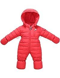 Vine Bebé Traje de Nieve + Guantes + Footies Niñas Peleles Invierno Mameluco Monos con Capucha Trajes de niños