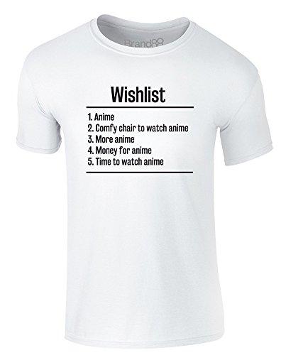 Brand88 - Wishlist: Anime, Erwachsene Gedrucktes T-Shirt Weiß/Schwarz