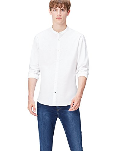 Find camicia con colletto serafino slim fit uomo, bianco (white), x-large