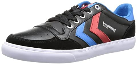 hummel HUMMEL STADIL LOW, Unisex-Erwachsene Sneakers, Schwarz (Black/Blue/Red/Gum), 44 EU (9.5 Erwachsene UK)
