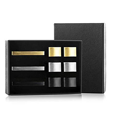 Milacolato 3 Sets Herren Krawattenklammer und Manschettenknopf Set Silber Gold Schwarz Ton für Business-Hochzeit mit Geschenkbox Herren Geschenk-Set