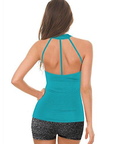 Donna Fitness Yoga Canottiera Sportivo Imbottito Canotta Sport Blu