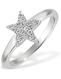 Goldmaid Women's Ring Star 925 Sterling Silver 16 White Zirconia, Ring Size: S