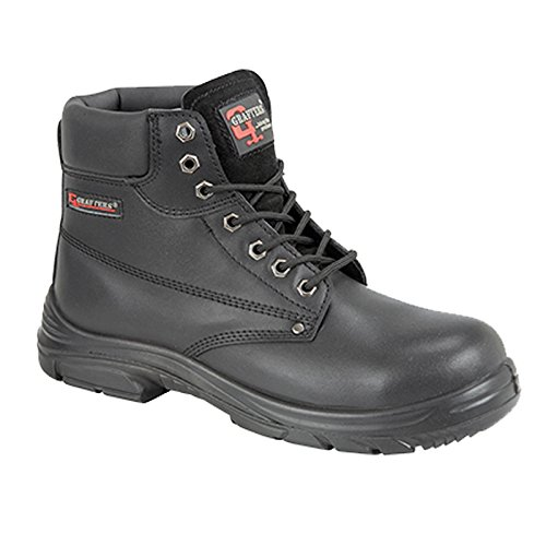 MENS GRAFTERS BLACK LEATHER WIDE FITTING SAFETY WORK BOOTS SIZE 6–13 M9503A...