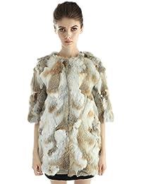 Bellerfur Las mujeres reales de piel de conejo invierno de los abrigos chaquetas media manga