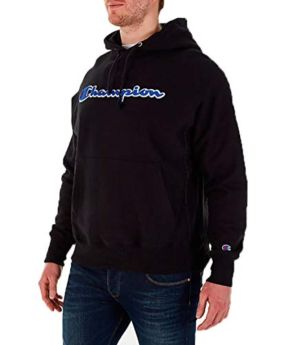 Champion Life Herren Reverse Weave Pullover Hoodie Kapuzenpulli, schwarz, Groß 12 Oz Reverse Weave Fleece