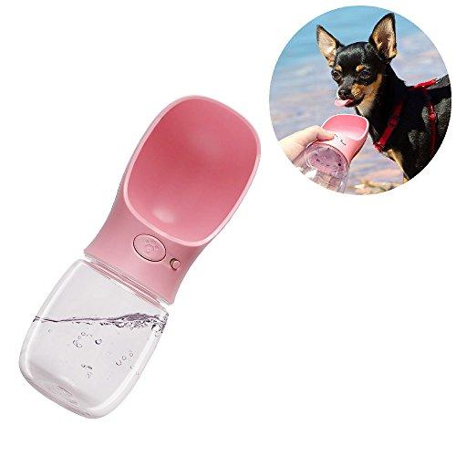 CITTATREND 350ml Bottiglia d\' acqua distributore anti-fuite Borraccia portatile impermeabile con grande Abbeveratoio per cane cucciolo gatto animale viaggio esterno all\' aperto rosa