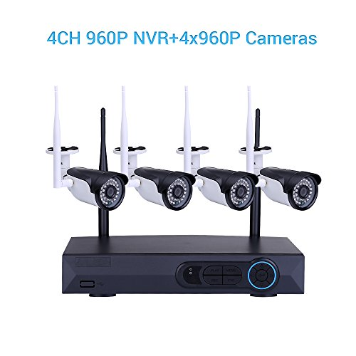 Masione 4CH 960P HD NVR Drahtlose Videokamera Überwachungskamera Set IP Wlan Kamera Wireless 1.3MP WiFi CCTV Kit NVR Wireless Security Funküberwachungssystem Surveillance Systeme Stecker und spielen Indoor-/Outdoor
