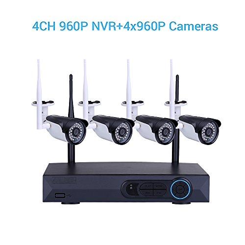 Masione 4CH 960P HD NVR Drahtlose Videokamera Überwachungskamera Set IP Wlan Kamera Wireless 1.3MP WiFi CCTV Kit NVR Wireless Security Funküberwachungssystem Surveillance Systeme Stecker und spielen Indoor-/Outdoor (Motion-detection-kamera-set)