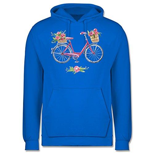 Vintage - Vintage Fahrrad Wasserfarbe Blumen - Männer Premium Kapuzenpullover / Hoodie Himmelblau