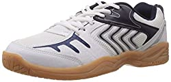 Nivia Mens White , Blue and Silver Mesh Badminton Shoes - 5 UK/India (38 EU)(6 US)(190)