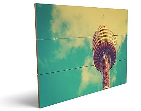 Turm, qualitatives MDF-Holzbild im Drei-Brett-Design mit hochwertigem und ökologischem UV-Druck Format: 100x70cm, hervorragend als Wanddekoration für Ihr Büro oder Zimmer, ein Hingucker, kein Leinwand-Bild oder Gemälde