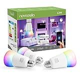 1150LM Lampadina Intelligente E27 Novostella, 100W Lampadina=12W Smart Lampada RGB+ Tunable White (2700-6500K), Lavora con Echo/Google Home/IFTTT, LED Luce Regolabile Compatibile per iOS Android