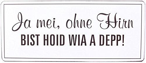 1 x Schild Ja mei, ohne Hirn bist hoid wia a Depp Breite 30,5 cm, Geschenk, Bayern bayrisch