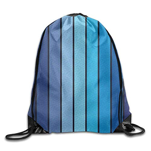 DHNKW AOOPK Unisex Gym Bag Plaques In Blue Tones with Border Lines with Sketchy Details Print Drawstring Gym Sack Sport Bag for Men and Women