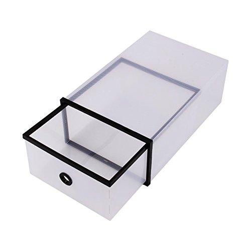 Yosoo 10 scatole per scarpe borse organizer,scarpe scatole box trasparenti ,pieghevole doppia in plastica (nero)