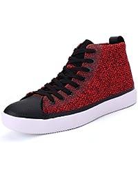 Unisex Alta Placa Superior Zapatos Pareja Casual Zapatos Puro Color Encaje Cremallera Zapatos Deportivos Martin Botas UE Tamaño 35-46,Red,40EU