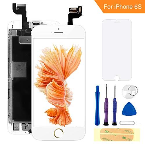 FLYLINKTECH Für iPhone 6s Display Weiß, Ersatz Für LCD Touchscreen Digitizer vormontiert mit Home Button, Hörmuschel, Frontkamera Reparaturset Komplett Ersatz Bildschirm mit Werkzeuge Weiß Touch Screen