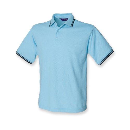 Henbury Herren Polo Shirt Tipped Sky / Navy