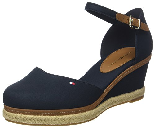 Tommy Hilfiger Damen Iconic ELBA Basic Closed Toe Geschlossene Sandalen, Blau (Midnight 403), 39 EU - Schuhe Frauen Sandalen Wedges
