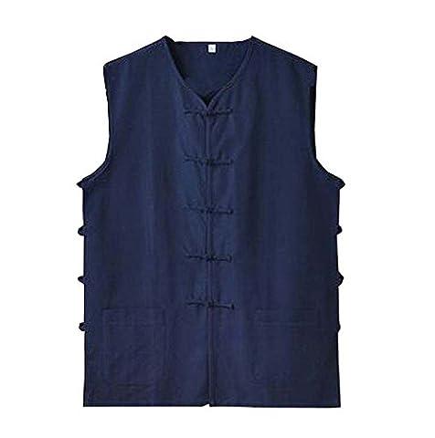 Shirt bleu de coton pour hommes d'été / style veste gilet chinois
