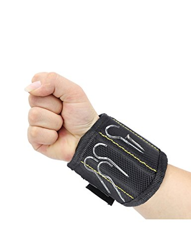 Caeser Archy Magnetisches Armband mit 5 starken Magnete Lagerung Armband für Schrauben Nägel Bolzen Bohrer Hände Freie Werkzeug Organisatoren—Schwarz Magnetische Organisatoren