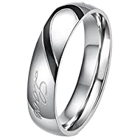 JewelryWe Lover's Heart Shape Stainless Steel Promise Ring