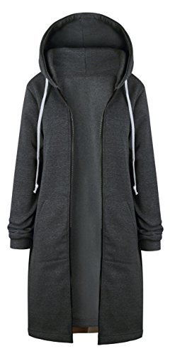 Walant Damen Große Größe Mittlere Länge Pullover Mantel mit Kapuze Jacke Outwear Herbst Winter S-5XL (5XL, Dunkelgrau)