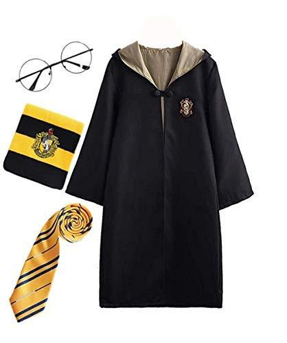Fanessy. Harry Potter Kinder Erwachsene Kostüm Umhang Fancy Dress Cosplay Outfit Set Zauberstab Krawatte Schal Brille Brillengestell Hut Hemd Rock Karneval Verkleidung Fasching Halloween ()