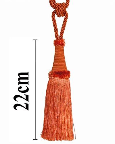 Raffhalter 65 cm / Quaste 22 cm mit Kordel Farbe Orange Schmuckquaste Gardinen Vorhang...