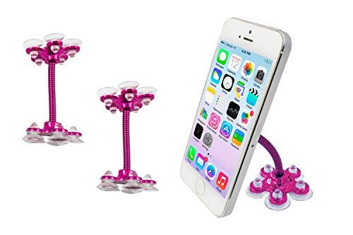 PAIDE P Soporte para móvil con Ventosa para Cualquier Superficie - Soporte iPhone, Huawei, Samsung, Xiaomi - para Coche, casa, Mesa, Cristales. (2 Rosa)