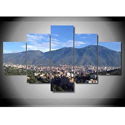 TMMTO Leinwandbild 5 Teilig Caracas Berg Leinwanddruck Malerei Wandkunst Poster Moderne Wohnkultur Wohnzimmer Bilder Rahmen-A -