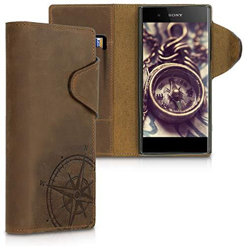 kalibri Sony Xperia XA1 Plus Hülle - Leder Handyhülle für Sony Xperia XA1 Plus - Handy Wallet Case Cover
