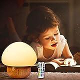 Baby Nachtleuchte, Migimi Kinder Nachtlicht LED Pilz Nachtlampe mit USB Stecker, 16 Farben des Lichts, Silikon+Holz Nachttischlampe mit Fernbedienung für Babyzimmer, Schlafzimmer, Wohnräume, Geschenk
