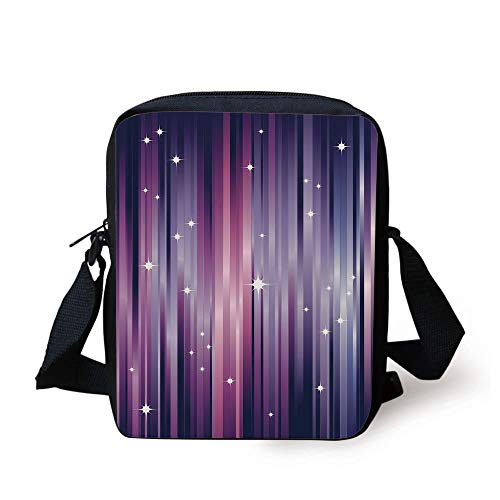 CBBBB Eggplant,Abstract Colourful Beams Backdrop with White Stars Space Inspired Purple Lines,Multicolor Print Kids Crossbody Messenger Bag Purse 3 Cell White Star