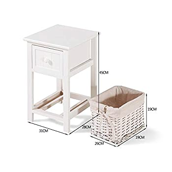 Fitnessclub Set of Two Bedside Cabinet Tables Chest of Drawers Storage Unit Wooden Wicker Baskets Shabby Chic Style Fully Assembled White For Bedroom Hallways Living Room