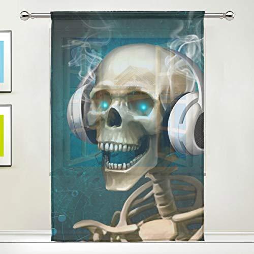 DOSHINE Vorhang für Halloween, Totenkopf, für Türen, Fenster, Schlafzimmer, Badezimmer, Küche, Wohnzimmer, 139,7 x 198 cm, 1 Panel, Polyester, Multi, 55