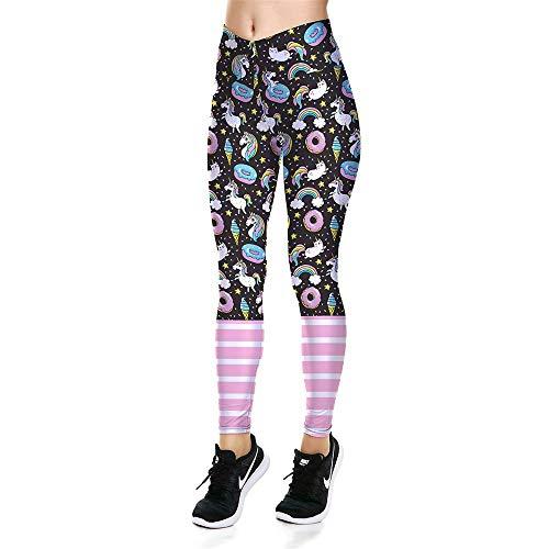 Leggins Desportivos Pantalones Yoga, Señora de cintura alta Leggings de yoga Unicornio a rayas Impresiones Pantalones de Capri Gimnasio Gimnasio Pantalones deportivos Basculador Atlético Activewaer Me