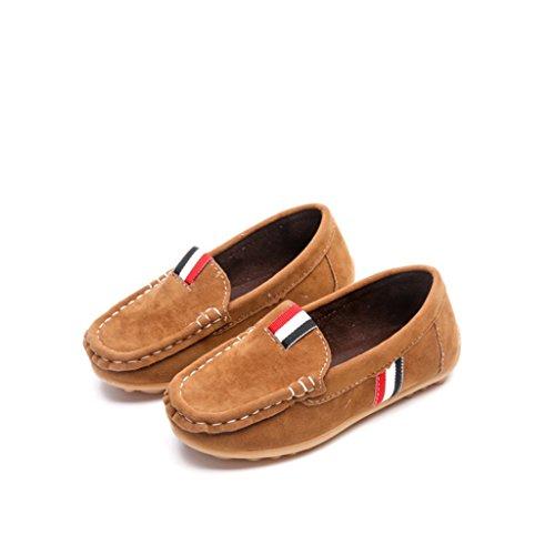 Eagsouni® Filles Garçons Confort Glisser Sur Suède Cuir Mocassins Flâneurs Chaussures Marron