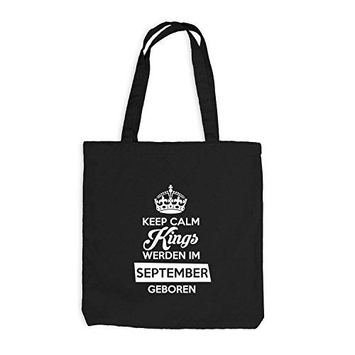 Jutebeutel - Keep Calm Kings werden im September geboren - Birthday Geburtstag Schwarz