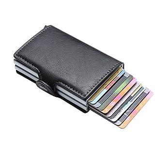 ACMEDE Doppelte Kreditkartenetui mit Geldklammer PU Leder Geldbörse Slim Wallet Portmonee Geldbörse RFID Schutz Slim Wallet für Herren und Damen - Auswurf-Mechanismus