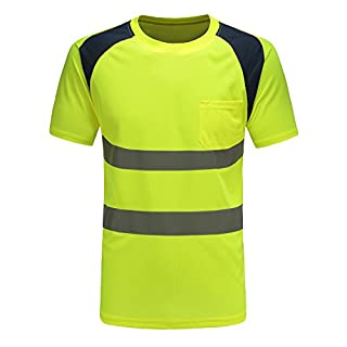 AYKRM Hi Vis Yellow T Shirt High Viz Tee Visibility 2 Band Brace Work Round Neck T-Shirt Breathable Reflective Tape Security Workwear Road Works Great Comfort & Retroreflective Visibility