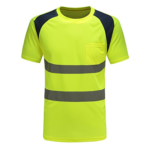 Price comparison product image AYKRM Hi Vis Yellow T Shirt Breathable Reflective Tape Security Workwear Reflective Visibility hi vis t Shirts (L,  Yellow)