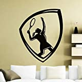 YuanMinglu Tennis Sign Sticker Decal Wall Decor Mold Wall Repeat Fashion Sport Girl Sticker Black 42X54CM