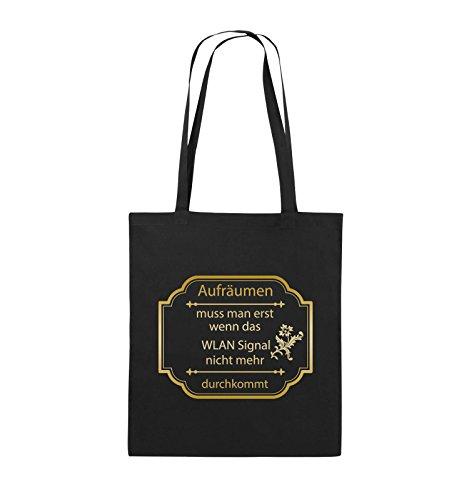 Comedy Bags - Aufräumen muss man erst, wenn - WLAN SIGNAL - Jutebeutel - lange Henkel - 38x42cm - Farbe: Schwarz / Pink Schwarz / Gold