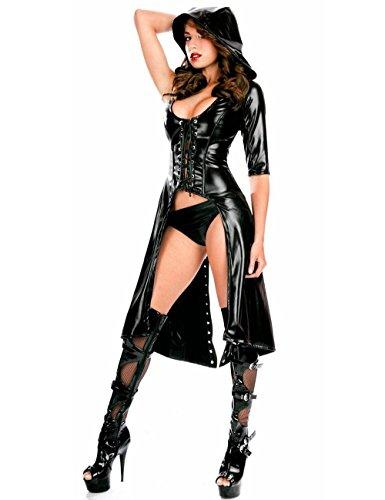 warz Faux Leder Kostüm Kleid mit Kapuze und Tanga Größe 38 Gotisch Punk Halloween (Punk Halloween-kostüme Für Babys)